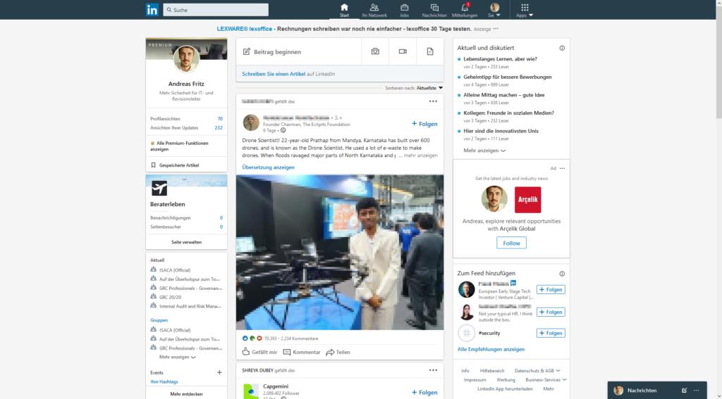 Layout LinkedIn